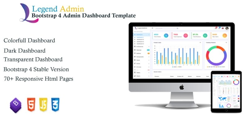 Legend - Bootstrap 4 Admin Dashboard Template