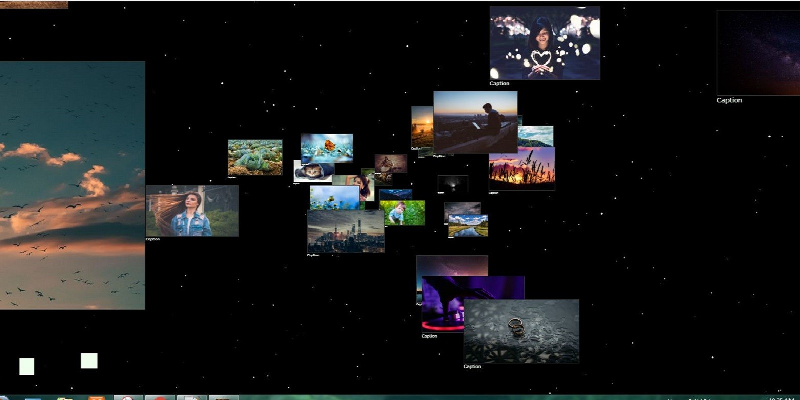 3D Photo Gallery on Space with Moving Stars