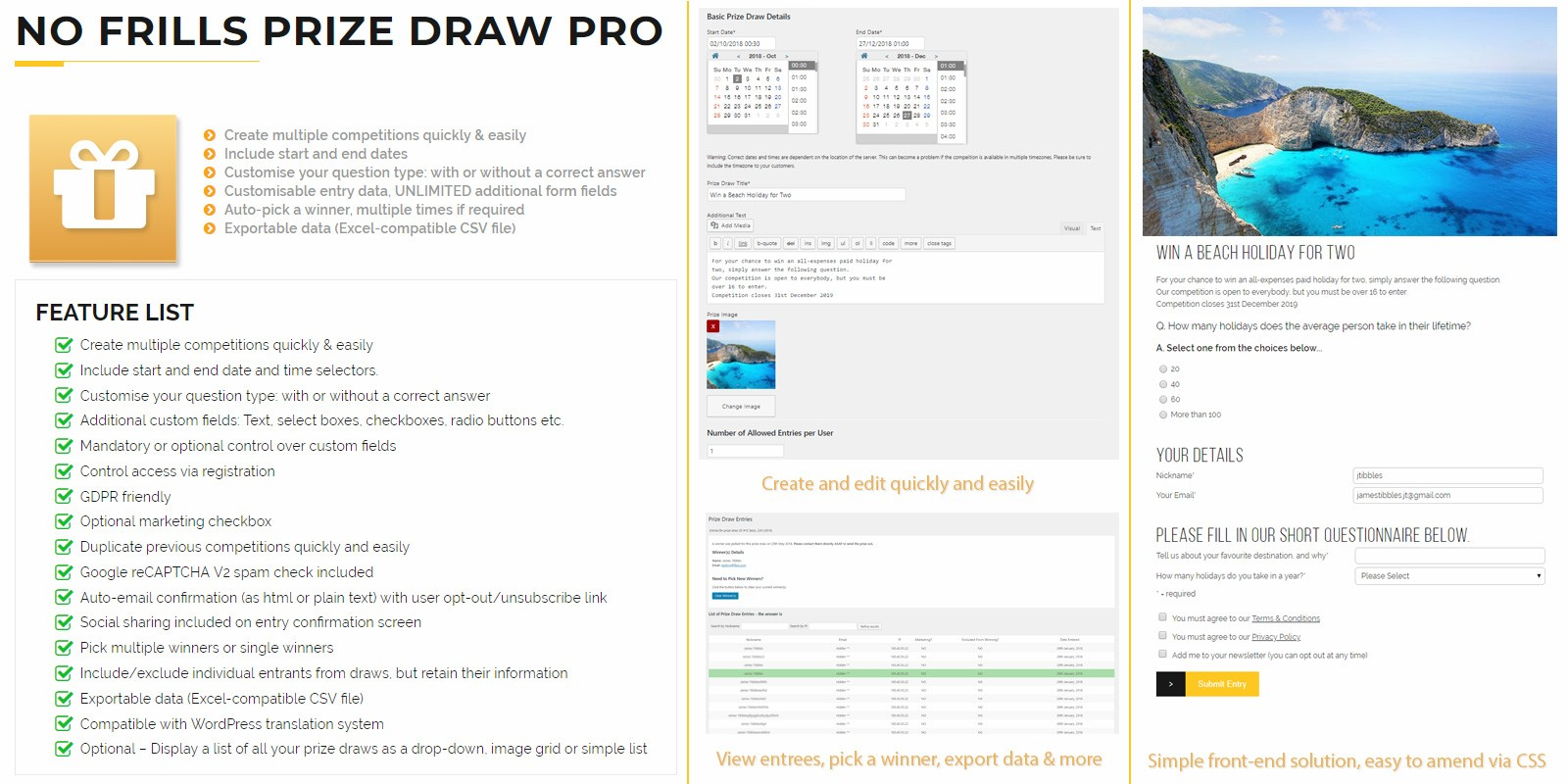 No Frills Prize Draw Pro WordPress Plugin