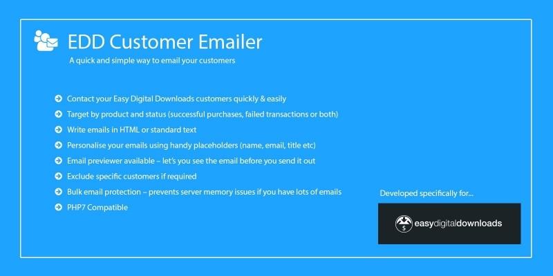 Customer Emailer for Easy Digital Downloads
