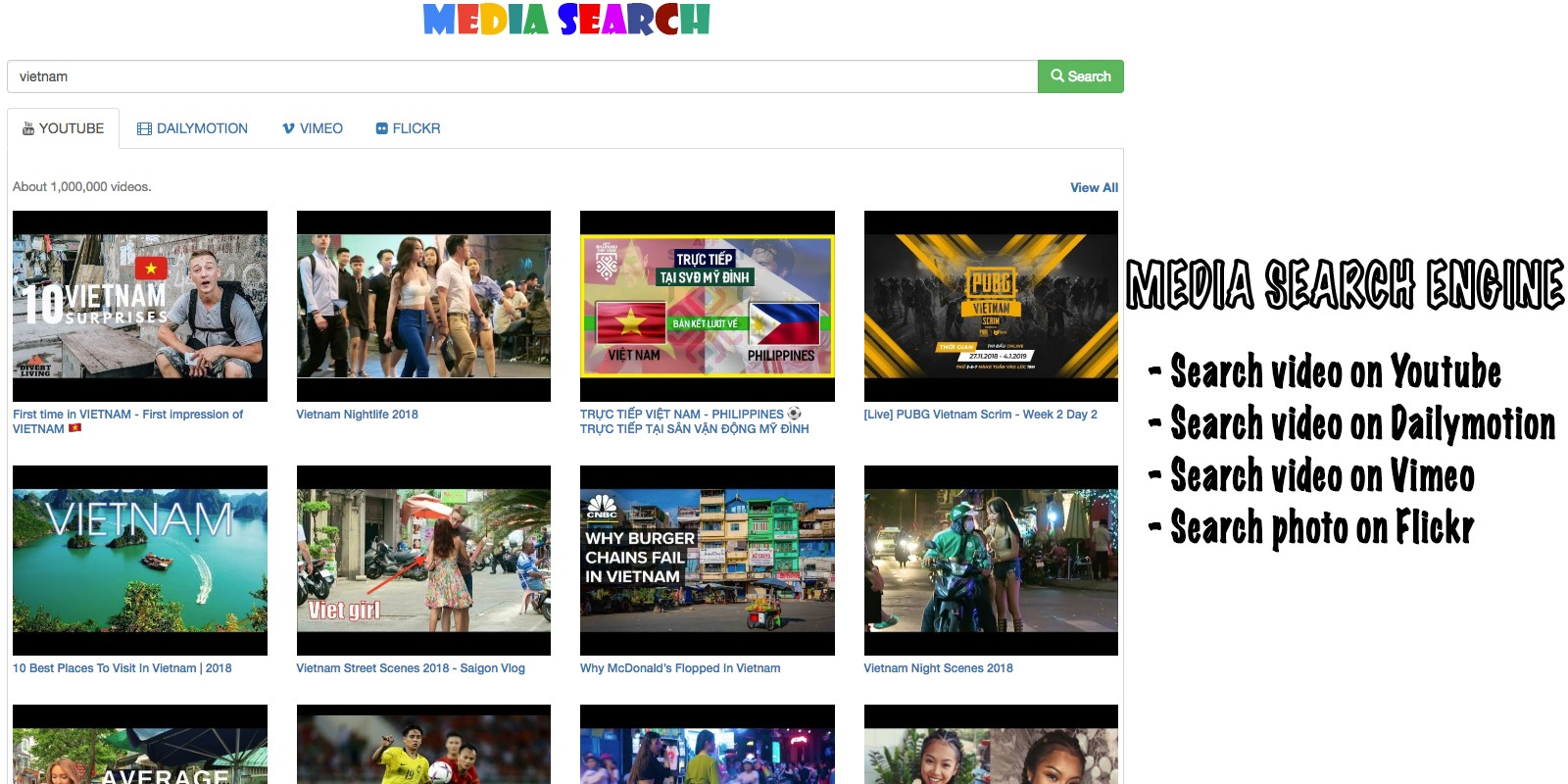 Media Search Engine PHP Script