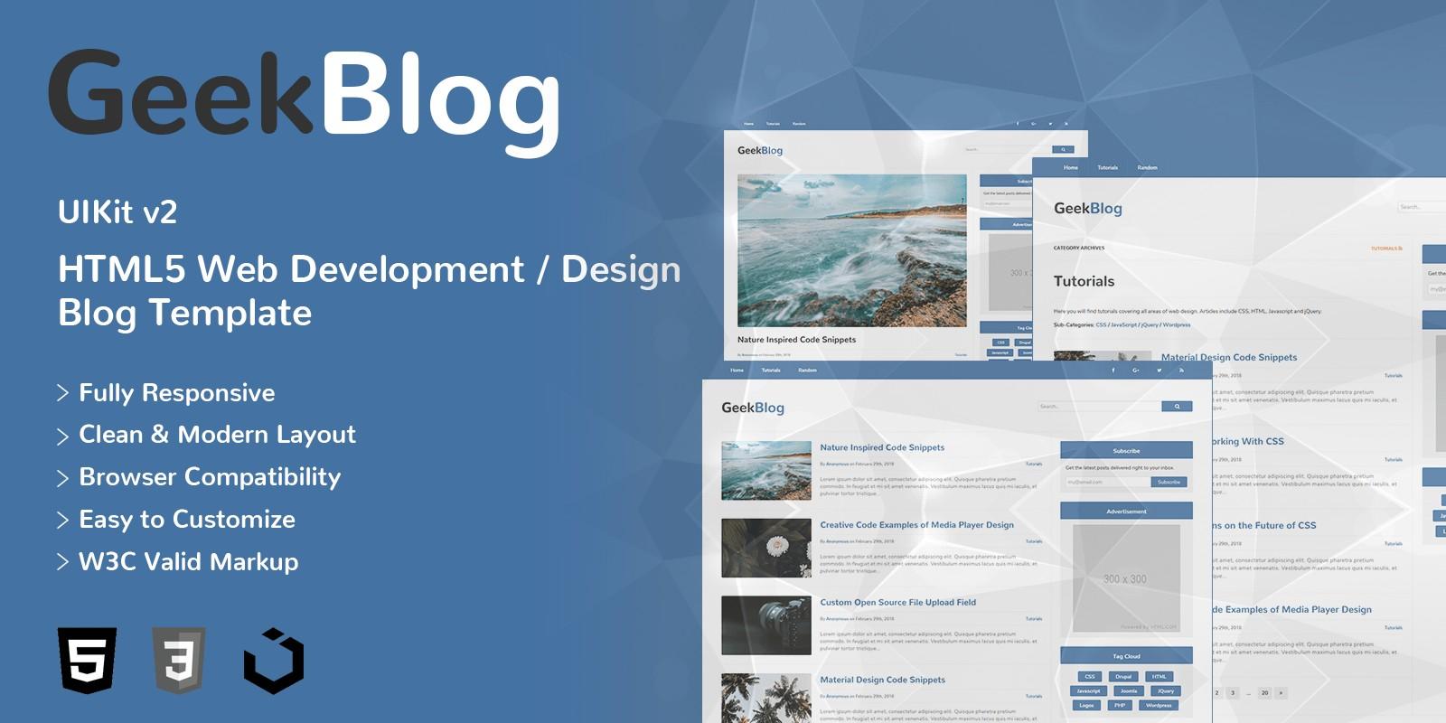 GeekBlog - HTML5 Web Development Design Blog Theme