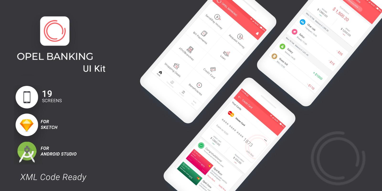 Opel Banking - Android Studio UI Kit