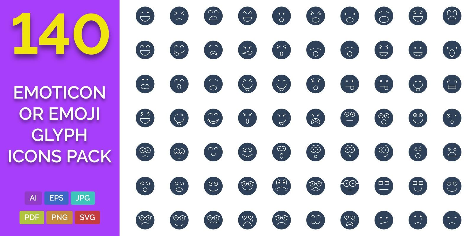 140 Emoticon or Emoji Glyph Icons Pack