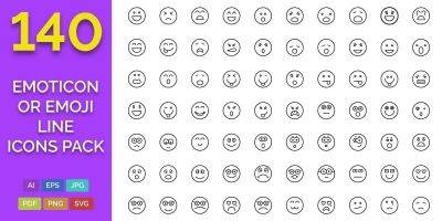 140 Emoticon or Emoji Line Icons Pack