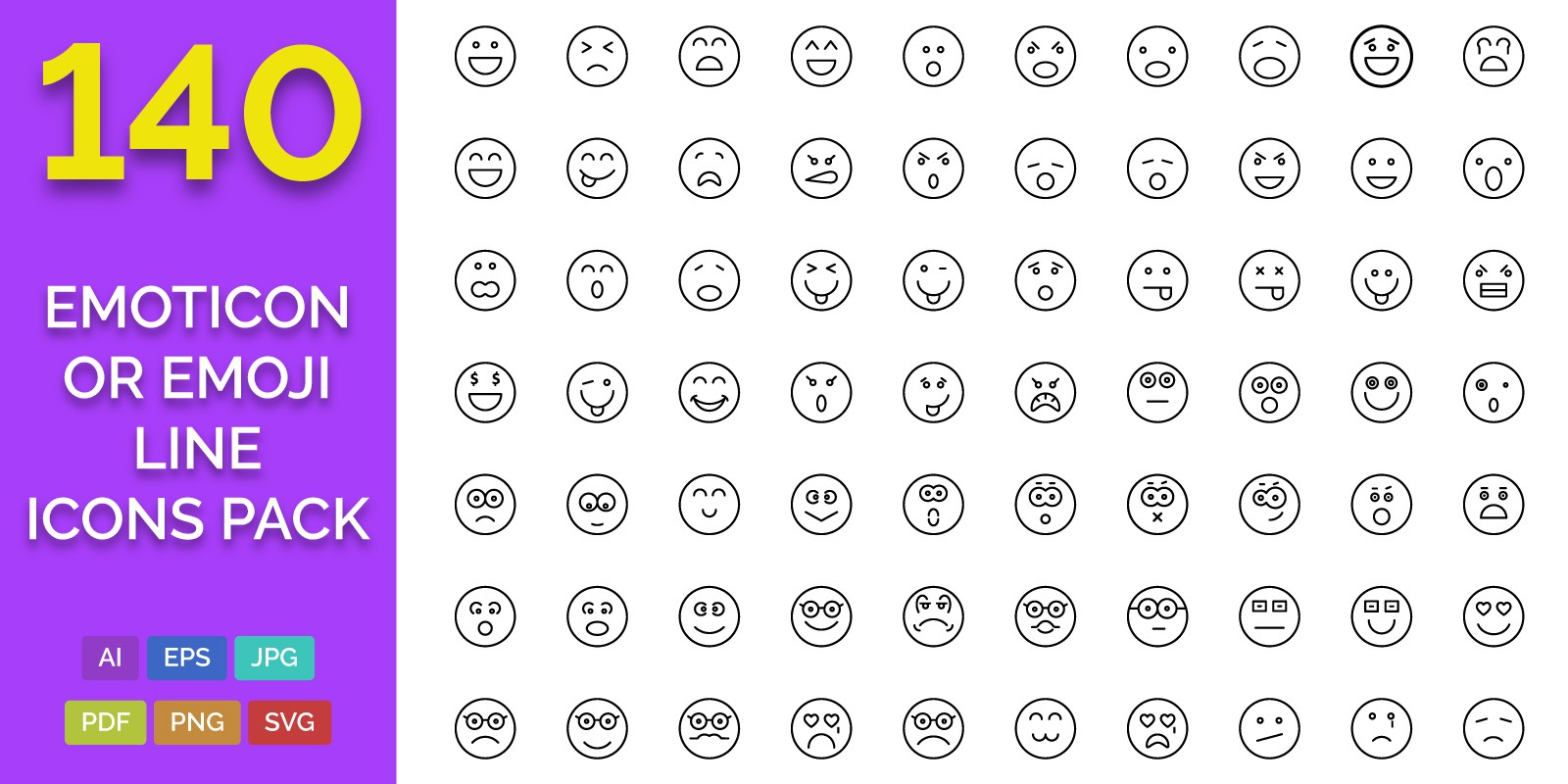 140 Emoticon or Emoji Line Icons Pack