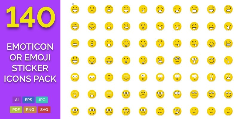 140 Emoticon or Emoji Sticker Icons Pack