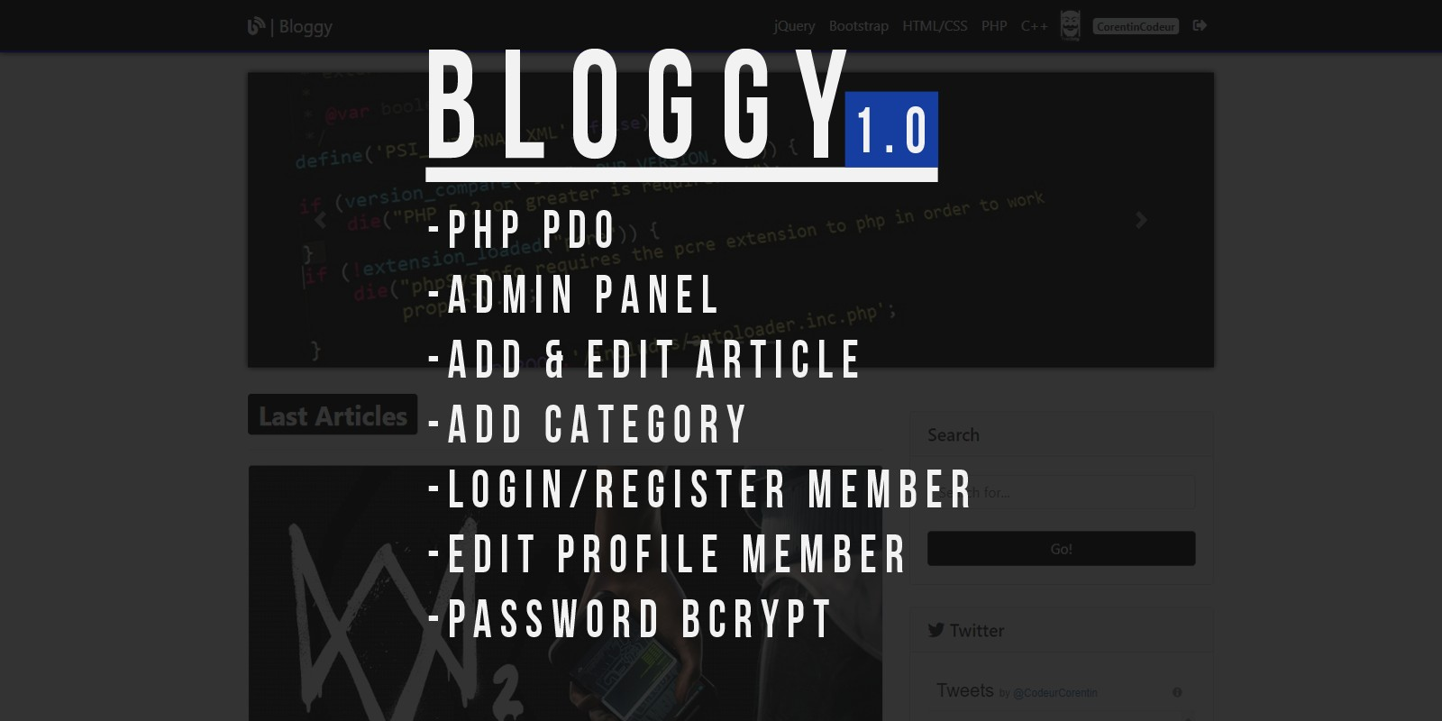 Bloggy - CMS Mini Blog Script PHP