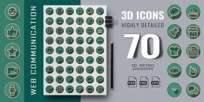 70 3D Retro Web Communication Icons
