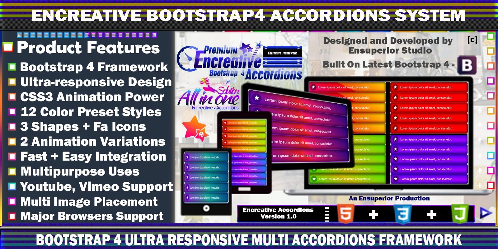 Encreative - Bootstrap 4 Accordions Framework