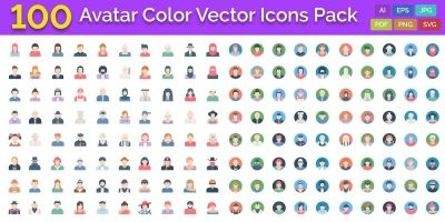 100 Avatar Color Vector Icons Pack