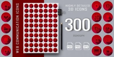 300 3D Red Web Communication Icons Set