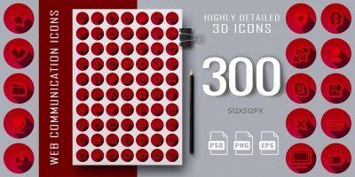 300 3D Red Web Communication Icons Set