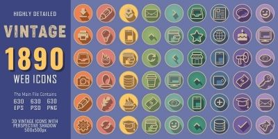 1890 3D Vintage Retro Web Communication Icons Pack