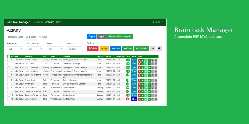 Brain Task Manager PHP Script