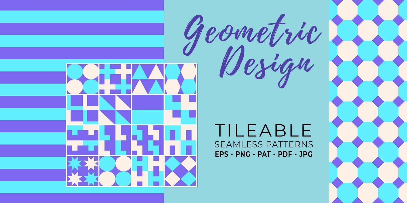 16 Geometric Seamless Tileable Patterns - RGB