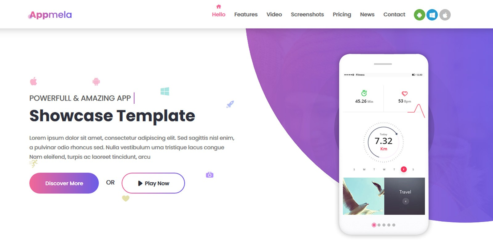 Appmela - Creative App Landing Page Template