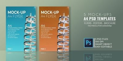 5 Mock-Ups Flyer PSD Templates A4
