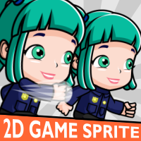 Police Woman 2D Game Character Sprite