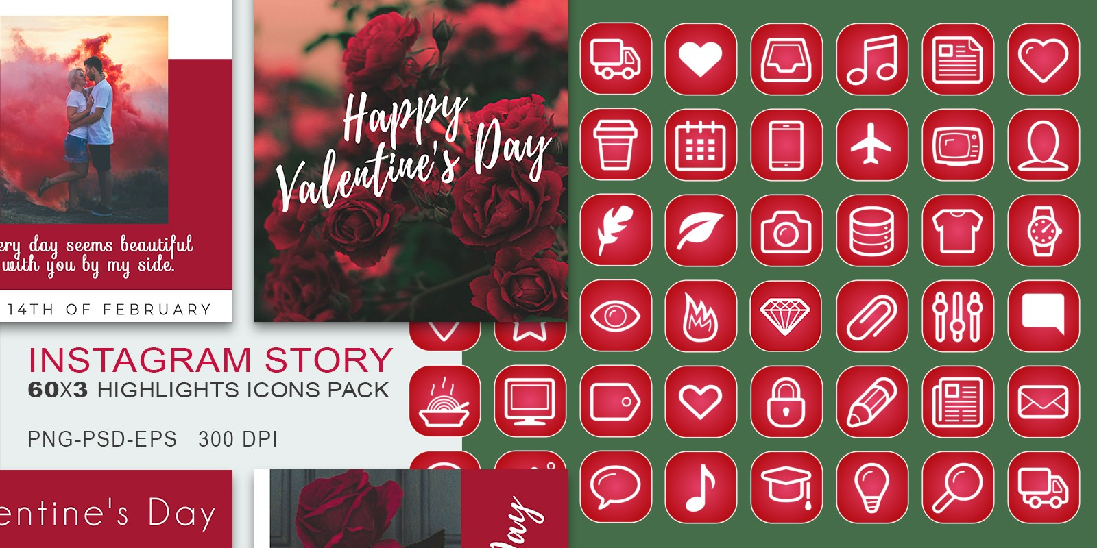 60 Valentines Day Insta-Story Icons Set