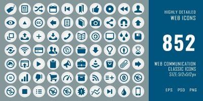 852 Classic Web Communication Icons Pack