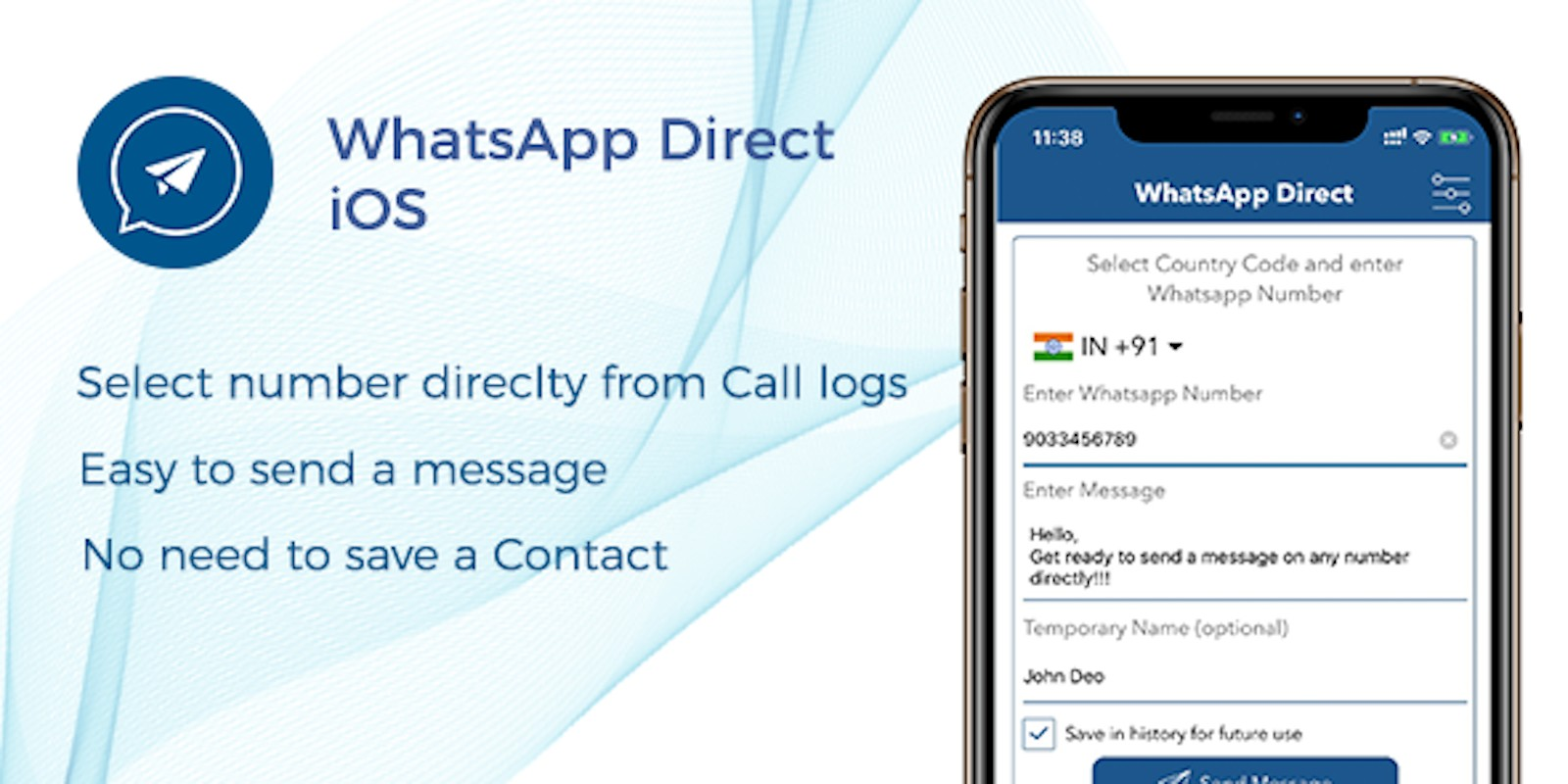 WhatsApp Direct - Send Message Without Contact iOS