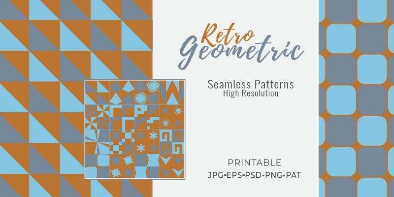 16 Retro Geometric Seamless Tile Patterns - RGB