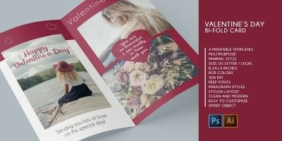 Bifold Valentine Wishes Card - 4 Templates