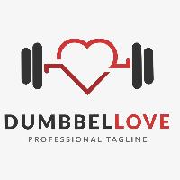 Dumbell Love Logo Template