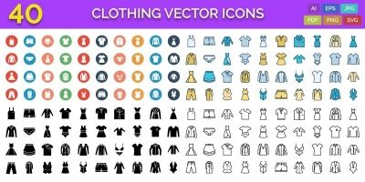 40 Clothing Vector Icons Pack