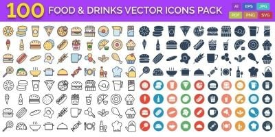 100 Food and Drinks Vector Icons Pack