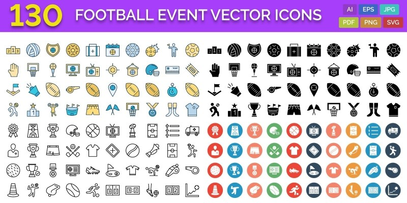 130 Football Event Vector Icons