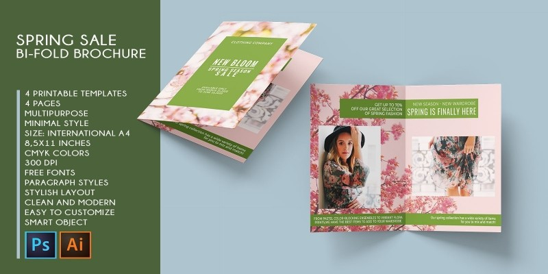 Bi-Fold Fashion Sale Printable Brochure A4 CMYK