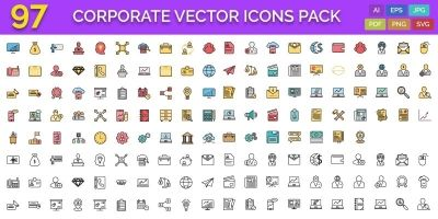 97 Corporate Vector Icons Pack