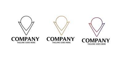 V Location Letter Logo