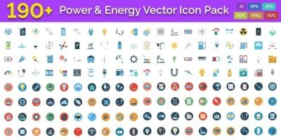 190 Power and Energy Color Vector Icon Pack