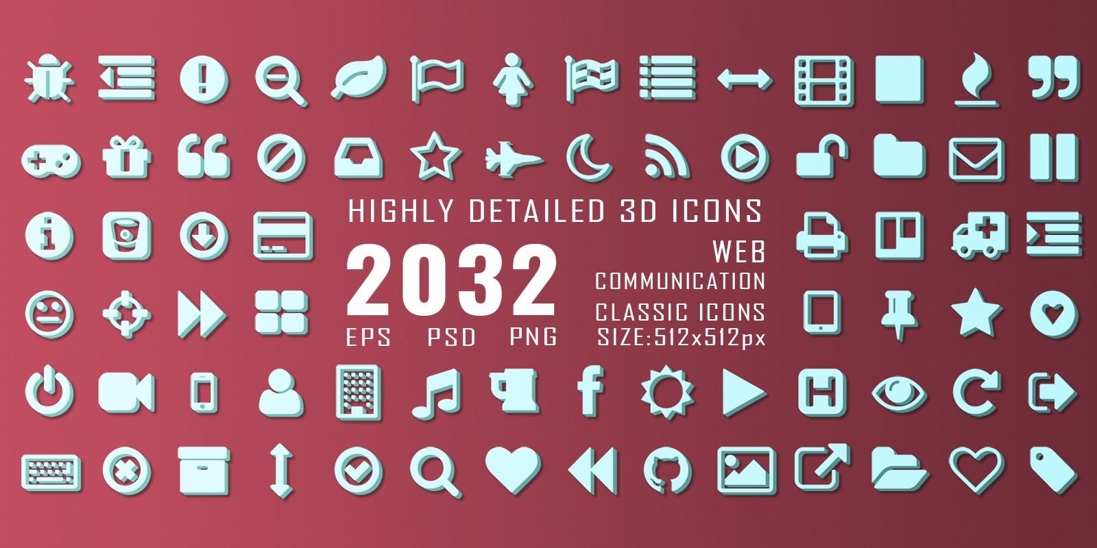2032 3D Web Communication Icons Pack