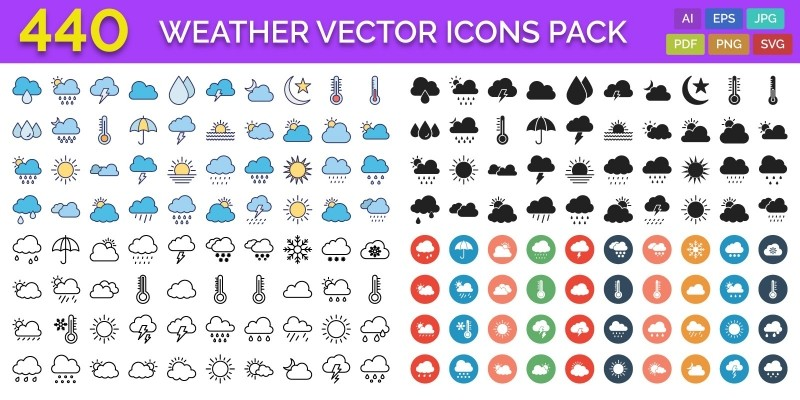 440 Weather Vector Icons Pack