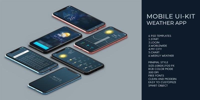 Mobile UI Kit Weather App - 6 PSD Templates