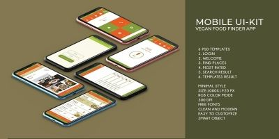 Mobile Vegan Food Finder App - 6  PSD Templates