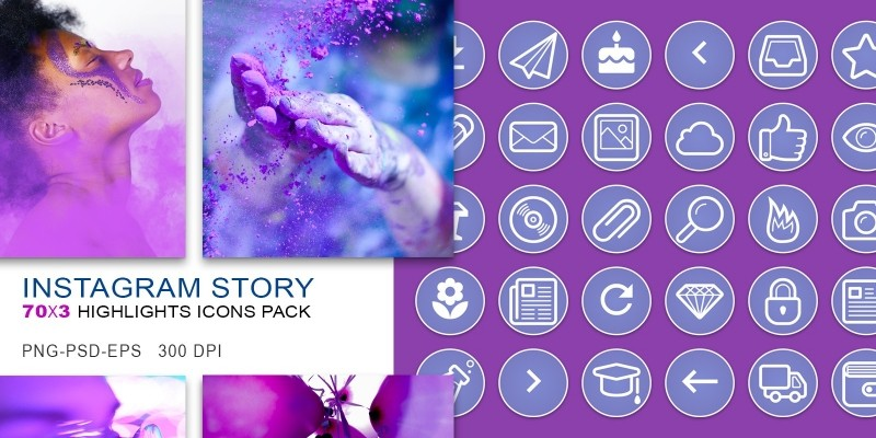 210 Instagram Story Highlights Purple Icons Pack