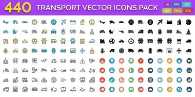 440 Transport Vector Icons Pack