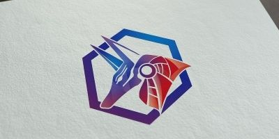 Head of Anubis inside of colorful hexagon - Vector