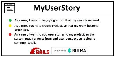 MyUserStory - Project Management Tool Ruby