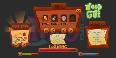 2D Game Wood GUI Kit