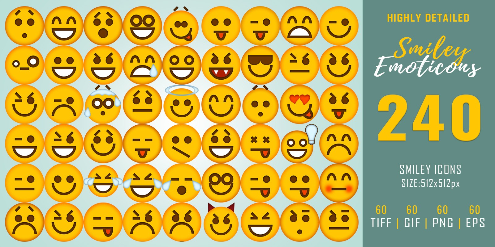 240 Smiley Emoticons - Icon Pack
