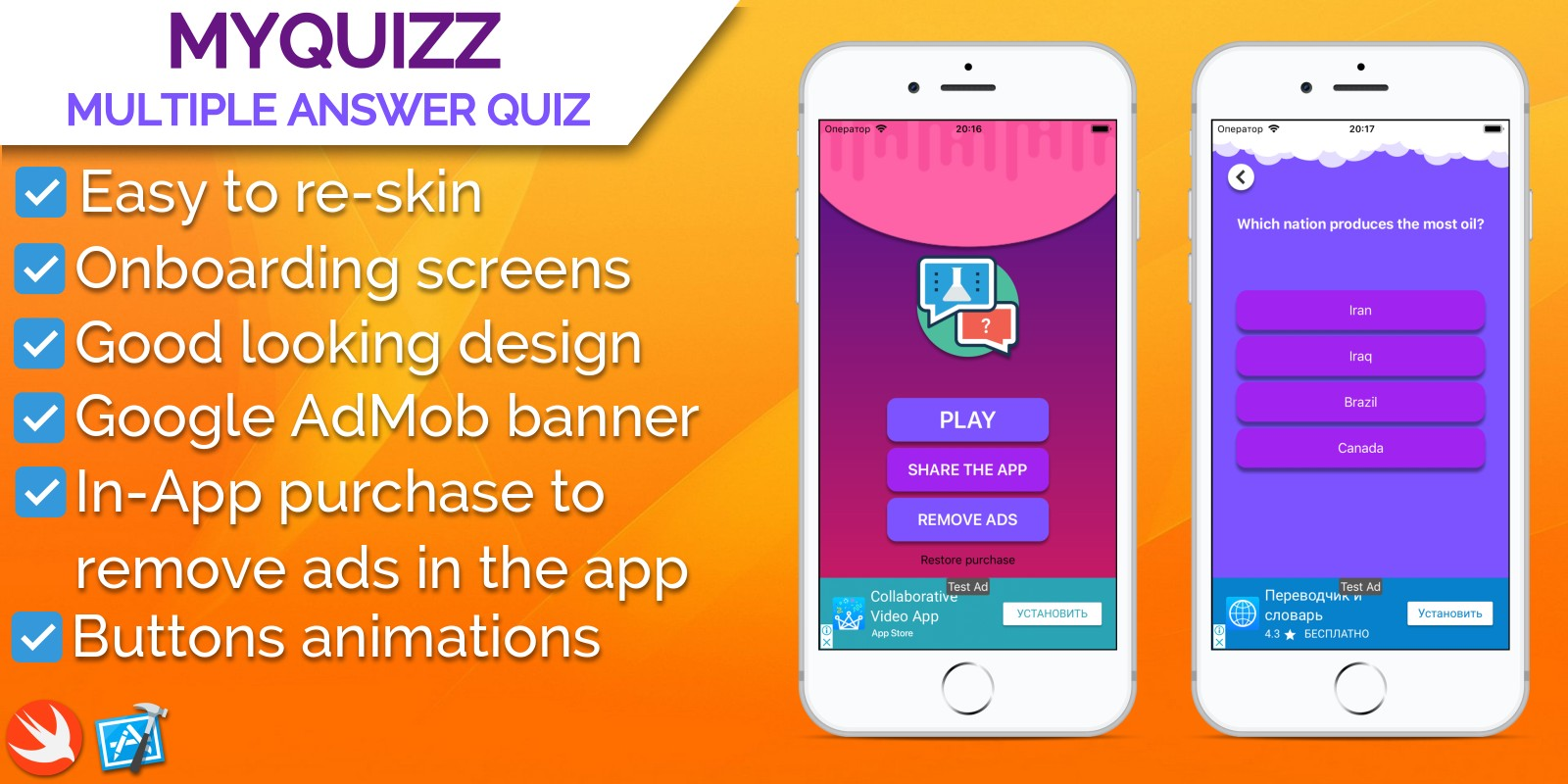 MyQuizz - iOS Multiple Answer Quiz Game