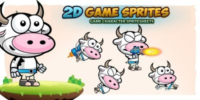 Cow 2D Game Character Sprites