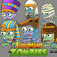 6 Egyptians Zombie Game sprites Set