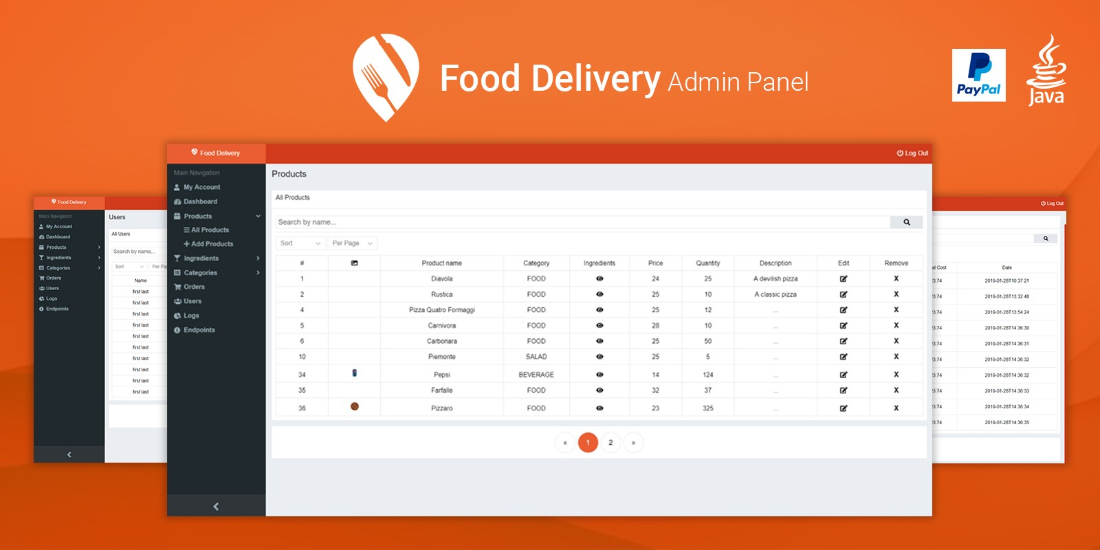 Food Delivery Admin Panel - Java CMS